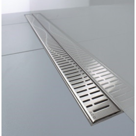 ACO stainless steel channel type shower trap with WAVE grill 407655, 885mm