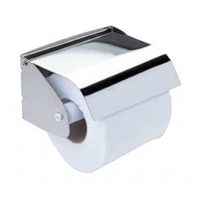 Mediclinics Toilet roll holder with cover, AISI 304 stainless steel, bright.75 x 130 mm