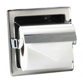 Mediclinics Recessed toilet roll holder with cover, AISI 304 stainless steel, bright.160 x 160 mm