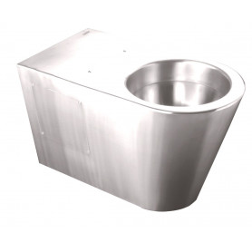 Mediclinics Toilet, floor standing, AISI 304 stainless steel bright.