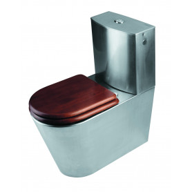 Mediclinics Toilet floor standing, with cistern, AISI 304 stainless steel satin.