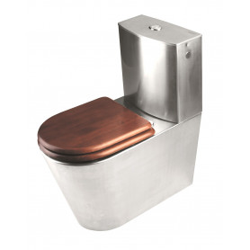 Mediclinics Toilet floor standing, with cistern, AISI 304 stainless steel bright.