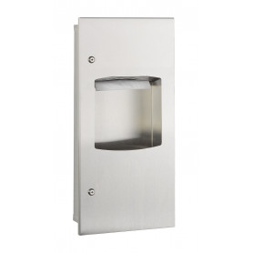 Mediclinics Recessed Cabinet, towel dispenser 400-600 u + waste receptacle 7,6 L, AISI 304 stainless steel, satin