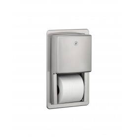 Mediclinics Toilet paper dispenser, semi-recessed, 2 roll, AISI 304 stainless steel, satin
