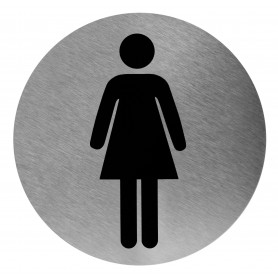 Mediclinics Female washroom sign, AISI 304 stainless steel, satin finish, Ø116mm