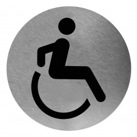 Mediclinics Accsessible washroom sign, AISI 304 stainless steel, satin finish, Ø116mm