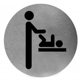 Mediclinics Baby care facilities sign, AISI 304 stainless steel, satin finish, Ø116mm