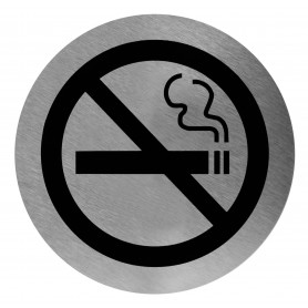 Mediclinics No smoking sign, AISI 304 stainless steel, satin finish, Ø116mm