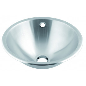 Mediclinics Wash basin recessed with overflow hole.. AISI 304 stainless steel satin. Outer diameter: 355 mm