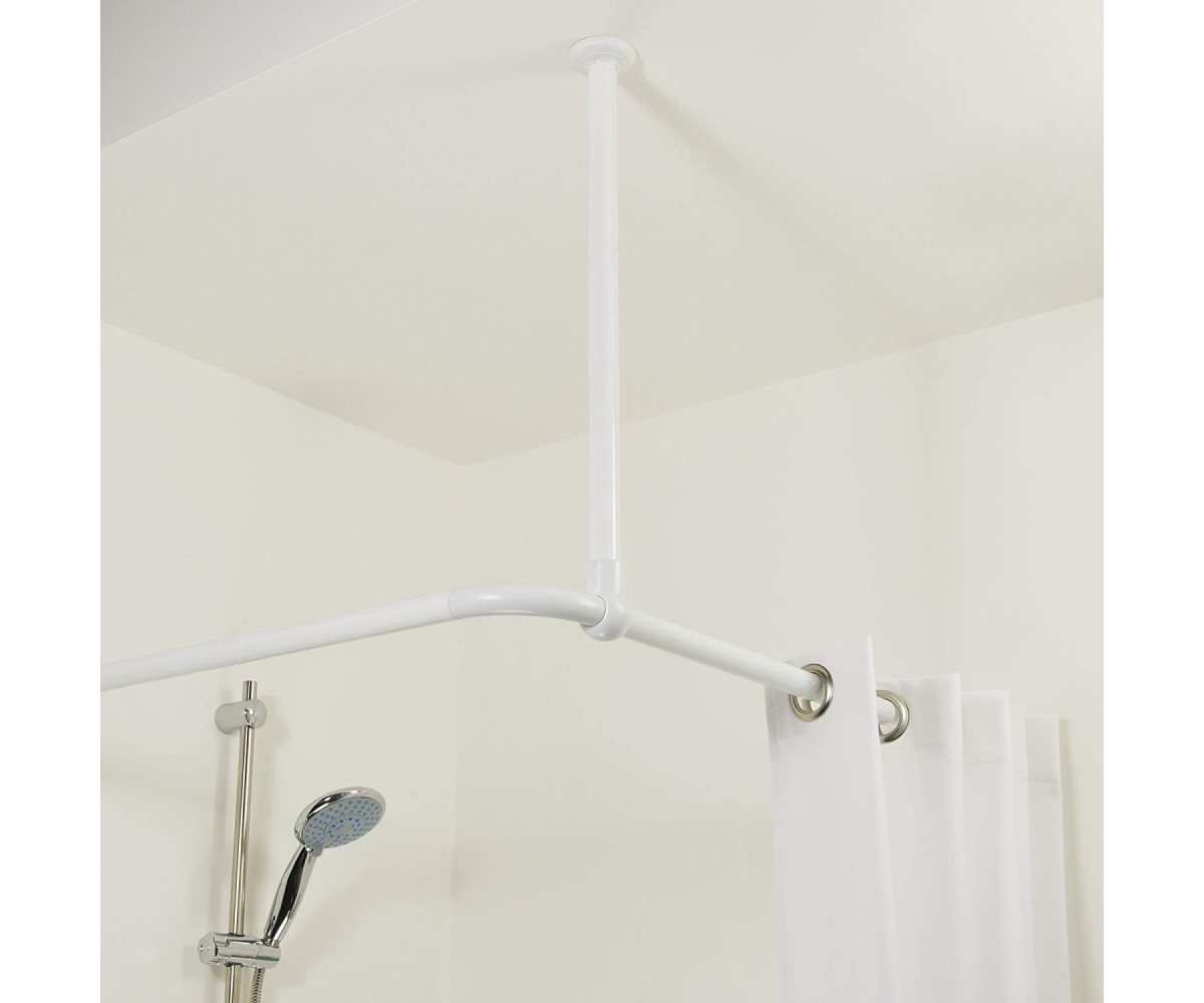 Sealskin Shower Curtain Rod Seallux Ceiling Support White