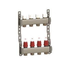 Luxor heated floor manifold CX2473 EK, 4 outlets, with flow meters, stainless steel