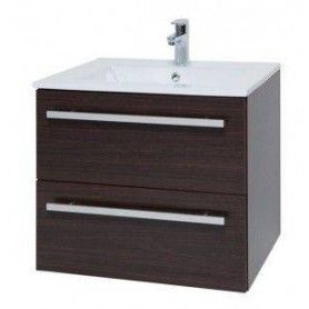 Raguvos Baldai Serena bathroom vanity unit with washbasin 61cm, black oak 14113301