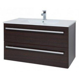Raguvos Baldai Serena bathroom vanity unit with washbasin 91cm, black oak 14113601