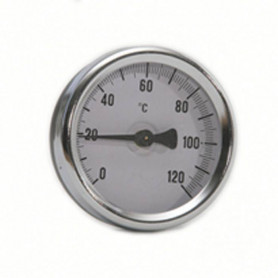 """Bimetal thermometer, axial D63 0-120C 1/2"""""""