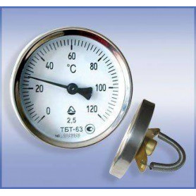 Bimetal thermometer with a spiral D63 0-120C