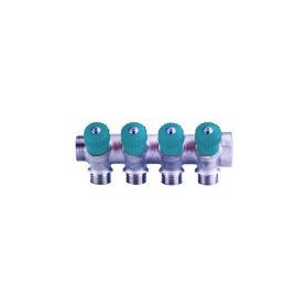 Collector 2-way 1x 1/2, blue GF, with valves