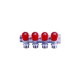 Collector 2-way 3/4x 1/2, red GF, with valves
