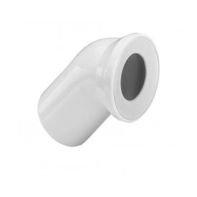 WC toilet bowl connection elbow 45deg, white