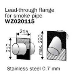 Harvia smoke stack flange, stainless steel