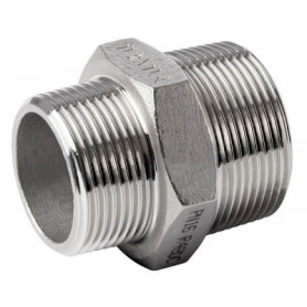 NT stainless steel threaded reduction double nipple 1/2x3/8