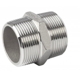 NT stainless steel threaded double nipple 1/4