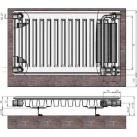 Termolux steel radiator with bottom connection 11x400x2000 Ventil Compact