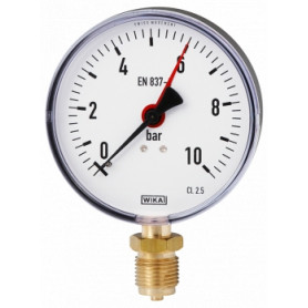 Wika manometer, with bottom connection 1/2 D80mm 0-10bar, 9012702