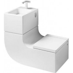 Roca W+W washbasin with WC toilet bowl and water mixer, white 7893020001