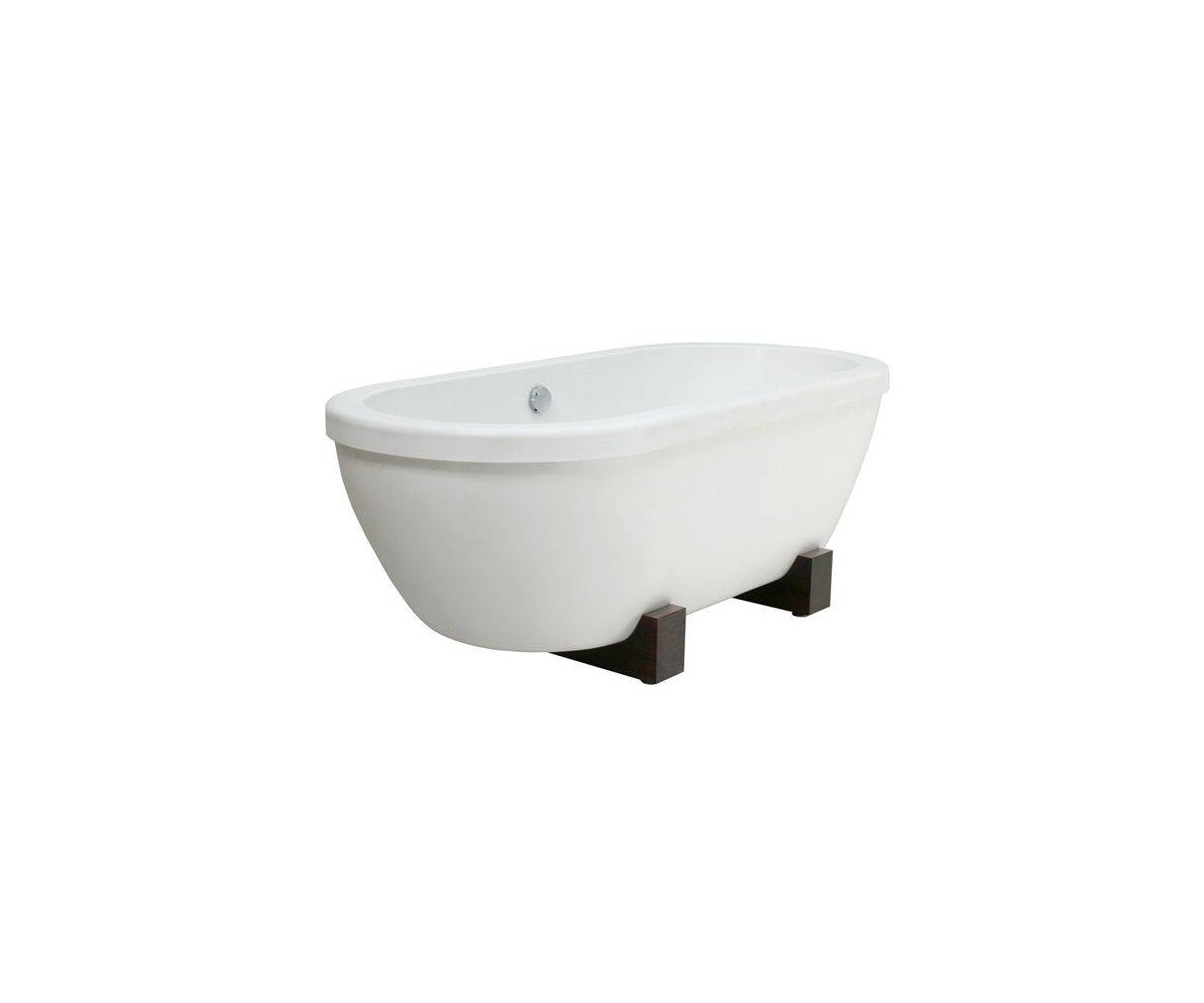 acrylic bathtub Andante with wooden legs and outlet