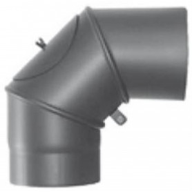 Jeremias black metal smoke stack elbow D200/0-90, with inspection hatch