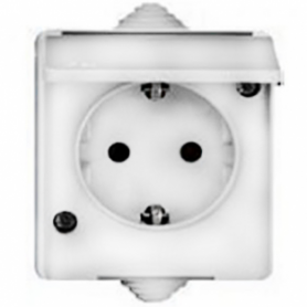 Mutlusan Candela electricity socket, grounded, with cover, white, decorative part