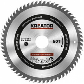 Kreator KRT020415 saw wheel, Ø185x30x2.2mm, for wood, 60 teeth
