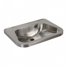 Sanela SLUN 26A stainless steel washbasin, without tap hole