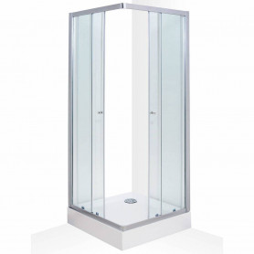 Duschy square shower cabin 80x80x200cm, silver profile, 984-80