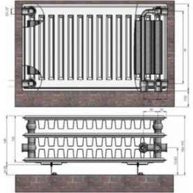 Termolux steel radiator with bottom connection 33x200x600 VCO