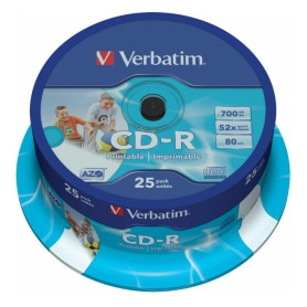 Matricas CD-R AZO Verbatim 700MB 1x-52x Wide Printable, ID Bran,25 Pack Spindle