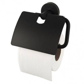 Haceka Kosmos Black toilet paper holder with cover 402913