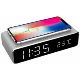 Gembird Digital alarm clock with wireless charging function Silver