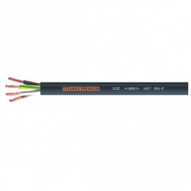 Nexans electricity cable H07RN-F TITANEX 5x6mm², with rubber insulation, flexable, black 0.6/1.0kV, from roll