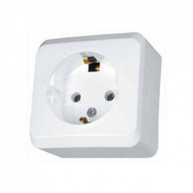 Schneider Electric surface mounted 1-slot electricity socket Prima, grounded, white, IP20, WDE001080