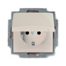 ABB Busch Jaeger concealed 1-slot electricity socket Basic55, grounded/ with lid, beige, 2CKA002018A0351
