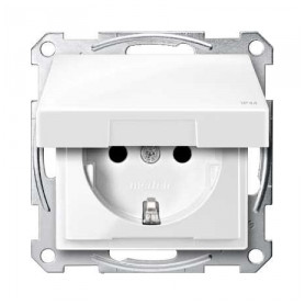 Schneider Merten concealed electricity socket, grounded, with cover, white, IP44, MTN2314-0319