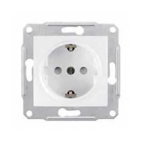 Schneider Electric concealed 1-slot electricity socket Sedna Pro, grounded, child protection, white, SDN3000121