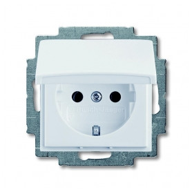 ABB Busch Jaeger concealed 1-slot electricity socket Basic55, grounded/ with lid, white, 2CKA002018A0350
