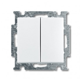ABB Busch Jaeger concealed double-switch Basic55 (1+1), white, 2CKA001012A2141