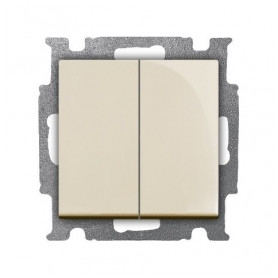 ABB Busch Jaeger concealed double-switch Basic55 (1+1), beige, 2CKA001012A2148