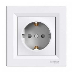 Schneider Electric concealed 1-slot electricity socket Asfora, grounded, child protection, white, with frame, IP20, EPH2900221