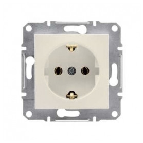 Schneider Electric concealed 1-slot electricity socket Asfora, grounded, child protection, beige, IP20, EPH2900823