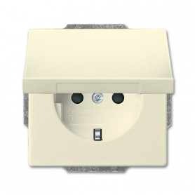 ABB Busch Jaeger concealed 1-slot electricity socket Future Linear, Solo, Carat, with cover, beige, 2CKA002018A1465