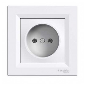 Schneider Electric concealed 1-slot electricity socket Asfora, white, with frame, IP20, EPH3000121